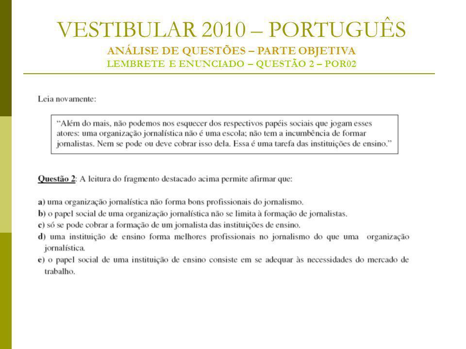 VESTIBULAR 2010 – PORTUGUÊS ANÁLISE DE QUESTÕES – PARTE OBJETIVA LEMBRETE E ENUNCIADO – QUESTÃO 2 – POR02