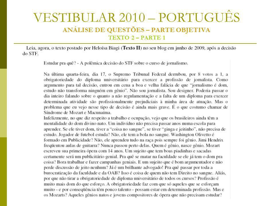 VESTIBULAR 2010 – PORTUGUÊS ANÁLISE DE QUESTÕES – PARTE OBJETIVA TEXTO 2 – PARTE 1