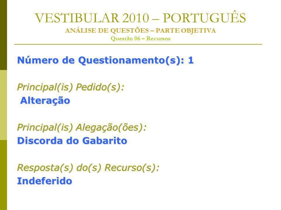 VESTIBULAR 2010 – PORTUGUÊS ANÁLISE DE QUESTÕES – PARTE OBJETIVA Questão 06 – Recursos Número de Questionamento(s): 1 Principal(is) Pedido(s): Alteração Alteração Principal(is) Alegação(ões): Discorda do Gabarito Resposta(s) do(s) Recurso(s): Indeferido