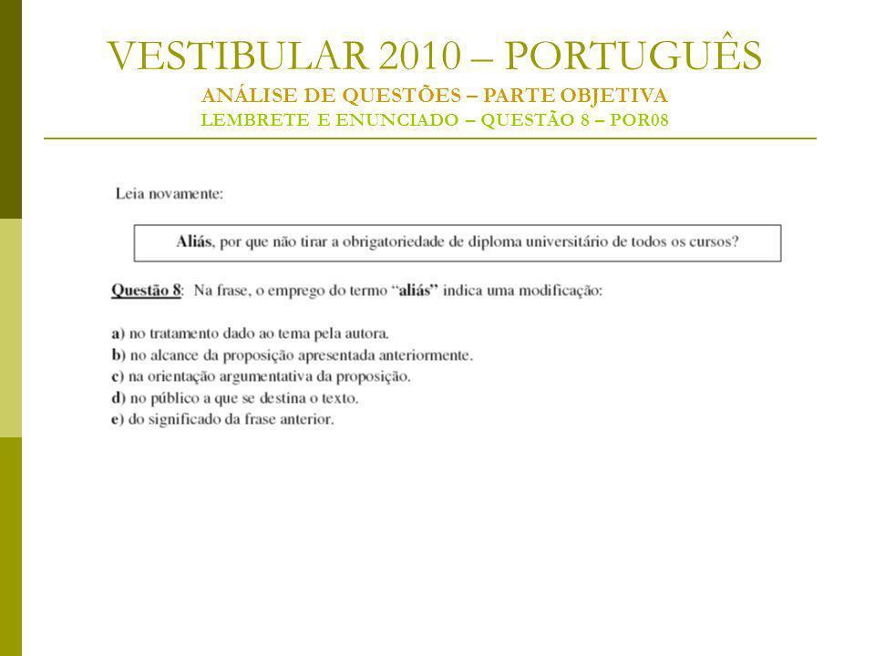 VESTIBULAR 2010 – PORTUGUÊS ANÁLISE DE QUESTÕES – PARTE OBJETIVA LEMBRETE E ENUNCIADO – QUESTÃO 8 – POR08