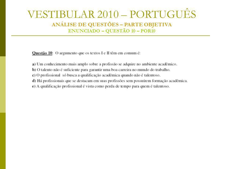 VESTIBULAR 2010 – PORTUGUÊS ANÁLISE DE QUESTÕES – PARTE OBJETIVA ENUNCIADO – QUESTÃO 10 – POR10