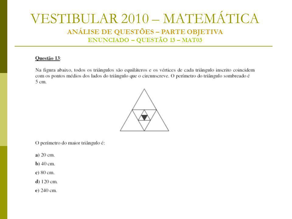 VESTIBULAR 2010 – MATEMÁTICA ANÁLISE DE QUESTÕES – PARTE OBJETIVA ENUNCIADO – QUESTÃO 13 – MAT03