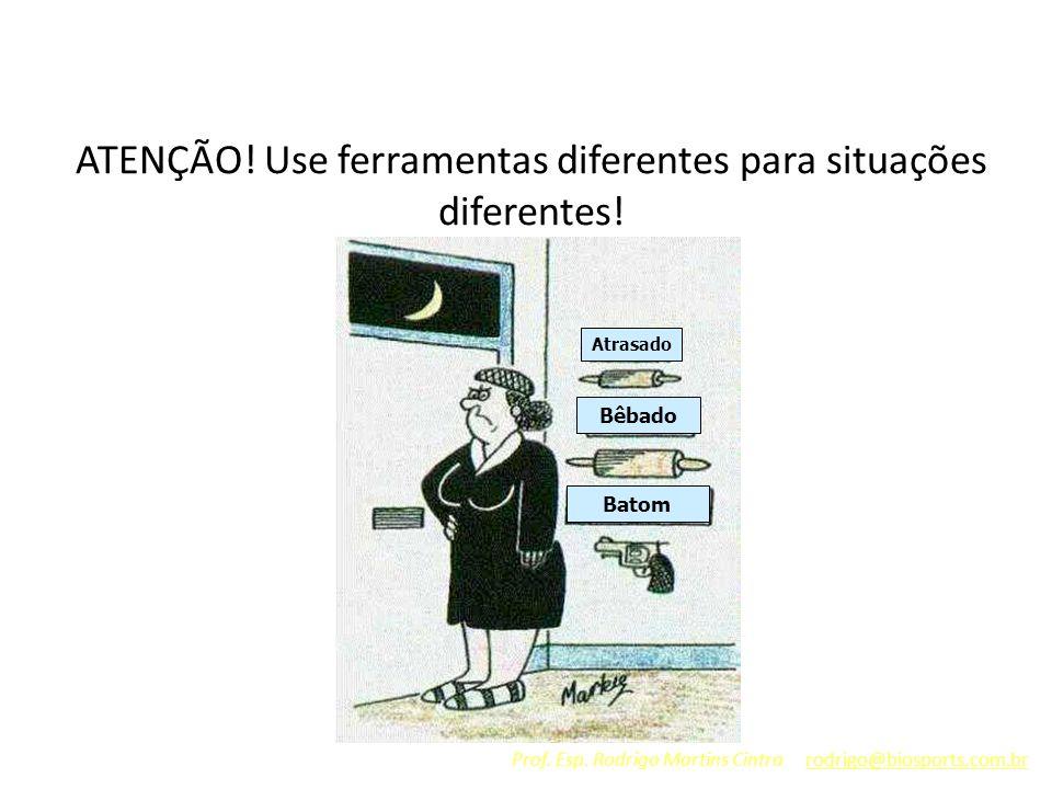 ATENÇÃO! Use ferramentas diferentes para situações diferentes! Atrasado Bêbado Batom Prof. Esp. Rodrigo Martins Cintra rodrigo@biosports.com.br