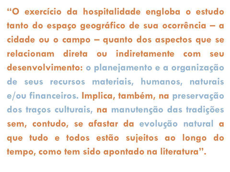 O exercício da hospitalidade engloba o estudo tanto do espaço geográfico de sua ocorrência – a cidade ou o campo – quanto dos aspectos que se relacion