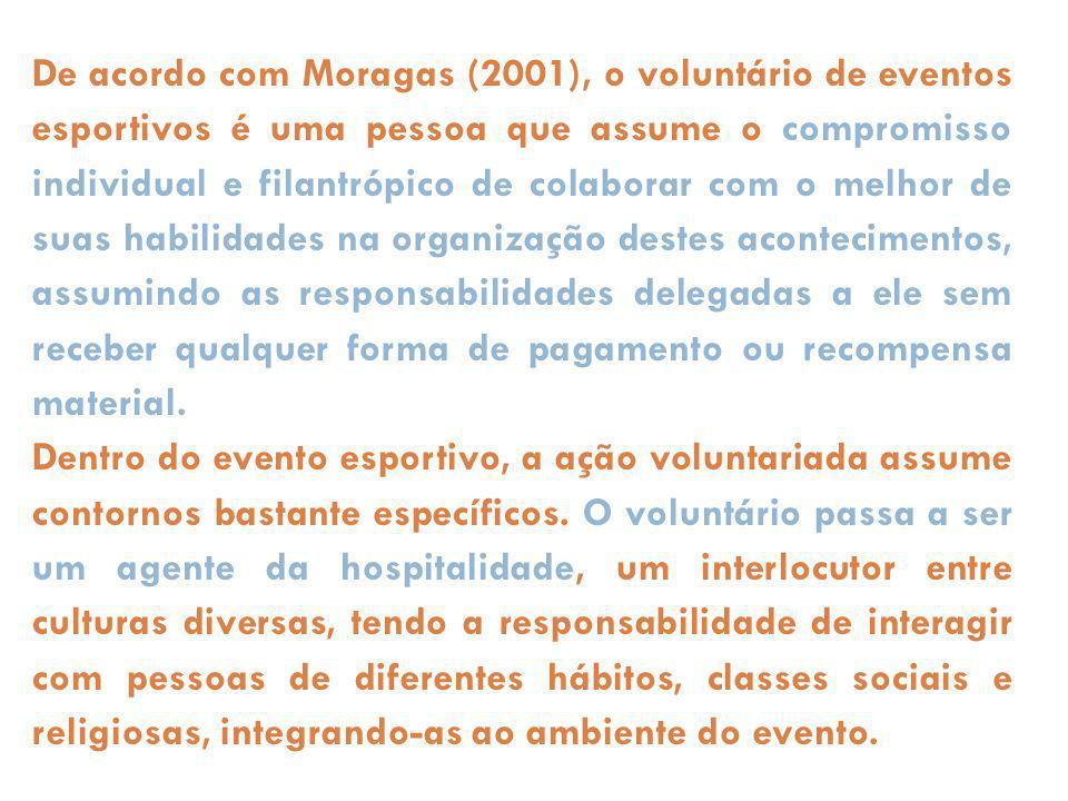 De acordo com Moragas (2001), o voluntário de eventos esportivos é uma pessoa que assume o compromisso individual e filantrópico de colaborar com o me
