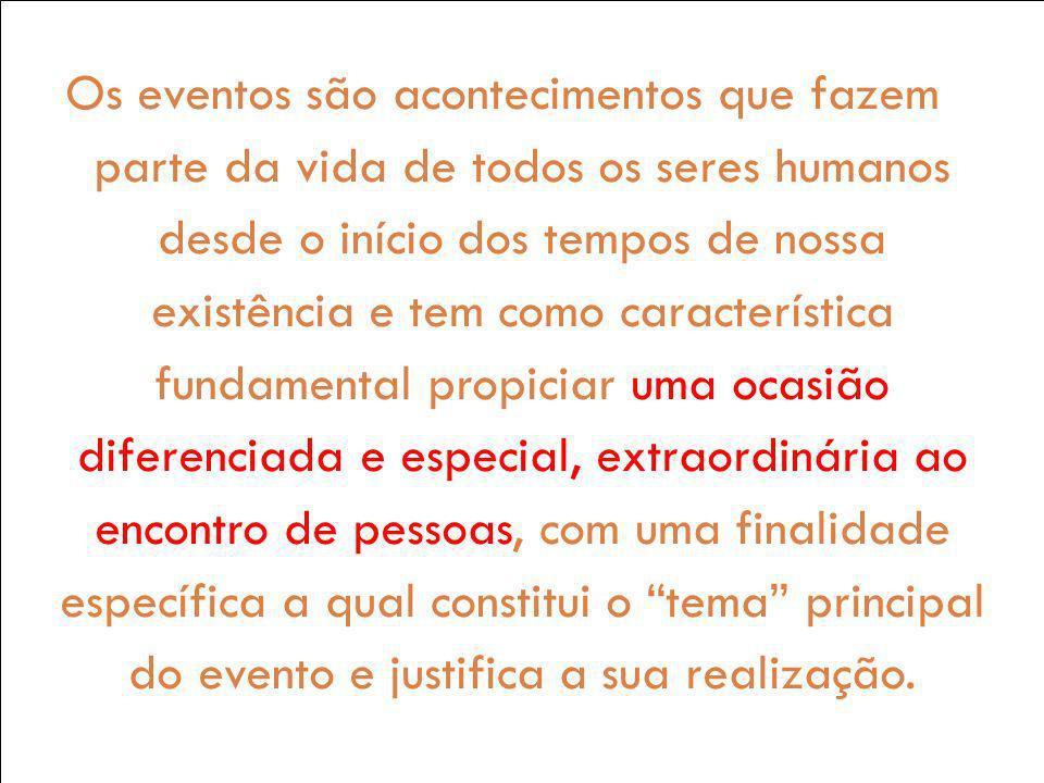 Os eventos são acontecimentos que fazem parte da vida de todos os seres humanos desde o início dos tempos de nossa existência e tem como característic