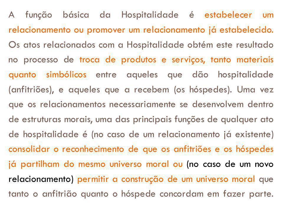 A função básica da Hospitalidade é estabelecer um relacionamento ou promover um relacionamento já estabelecido. Os atos relacionados com a Hospitalida
