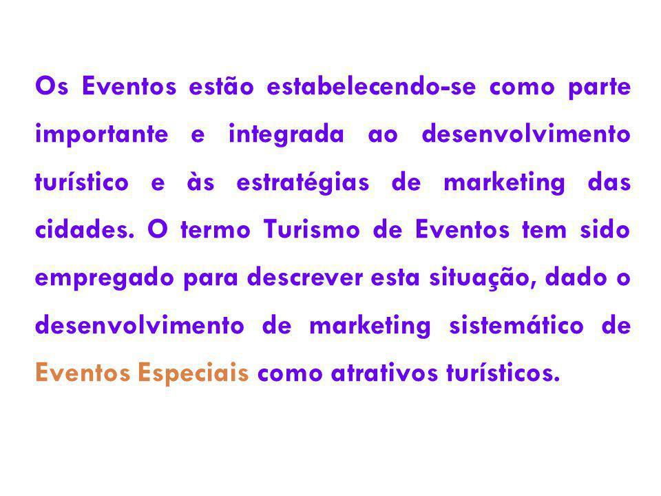 Os Eventos estão estabelecendo-se como parte importante e integrada ao desenvolvimento turístico e às estratégias de marketing das cidades. O termo Tu