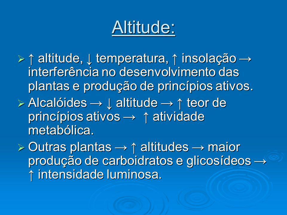 Altitude: altitude, temperatura, insolação interferência no desenvolvimento das plantas e produção de princípios ativos. altitude, temperatura, insola