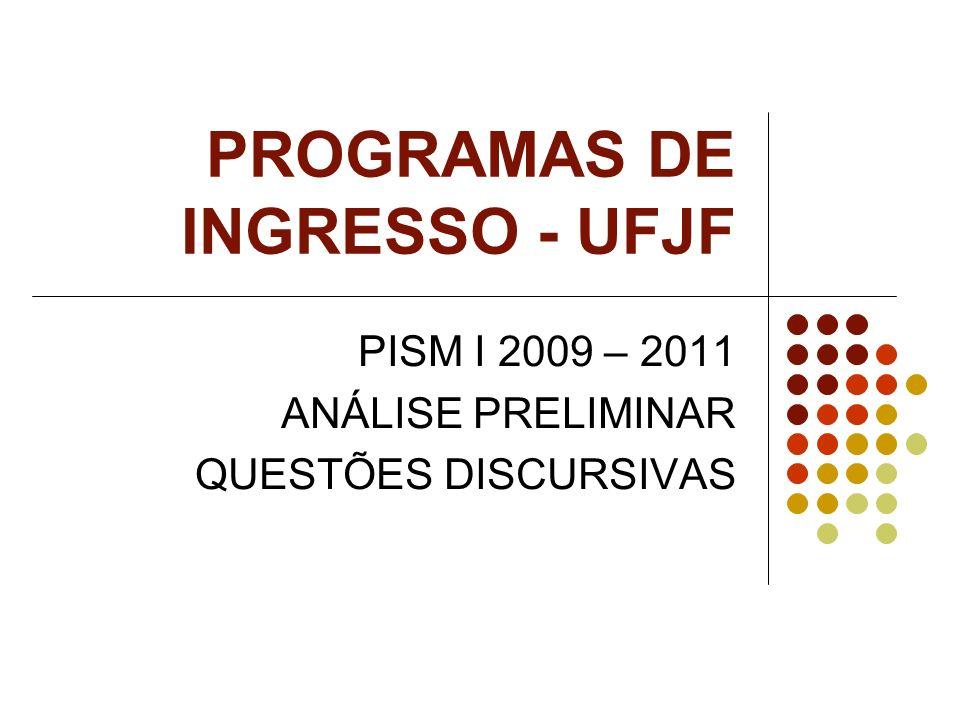 PROGRAMAS DE INGRESSO - UFJF PISM I 2009 – 2011 ANÁLISE PRELIMINAR QUESTÕES DISCURSIVAS
