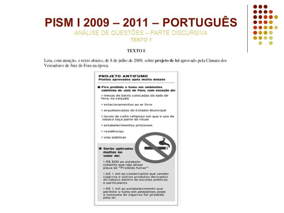 PISM I 2009 – 2011 – PORTUGUÊS ANÁLISE DE QUESTÕES – PARTE DISCURSIVA TEXTO 1