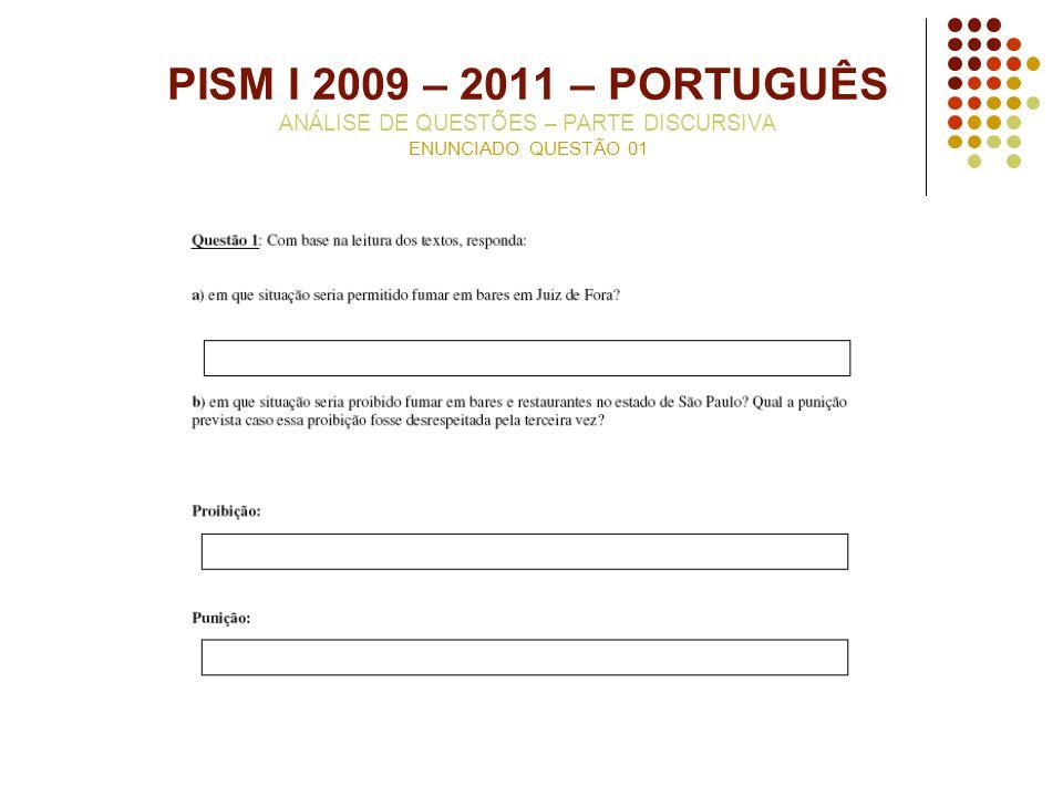 PISM I 2009 – 2011 – PORTUGUÊS ANÁLISE DE QUESTÕES – PARTE DISCURSIVA ENUNCIADO QUESTÃO 01
