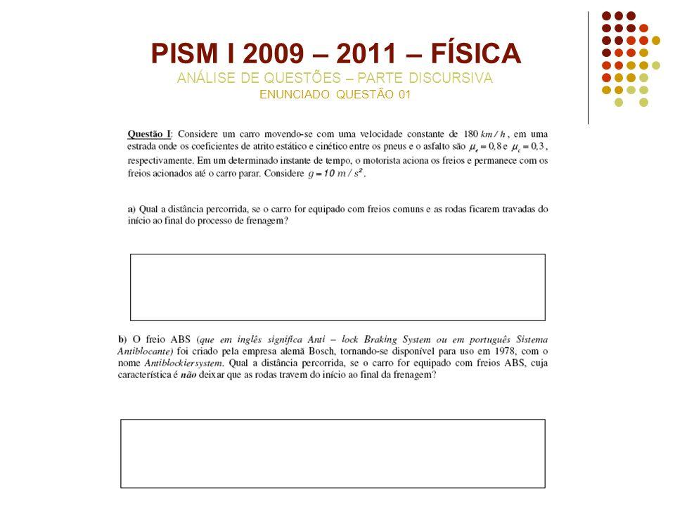 PISM I 2009 – 2011 – FÍSICA ANÁLISE DE QUESTÕES – PARTE DISCURSIVA ENUNCIADO QUESTÃO 01