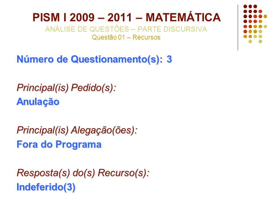 PISM I 2009 – 2011 – MATEMÁTICA ANÁLISE DE QUESTÕES – PARTE DISCURSIVA Questão 01 – Recursos Número de Questionamento(s): 3 Principal(is) Pedido(s): A