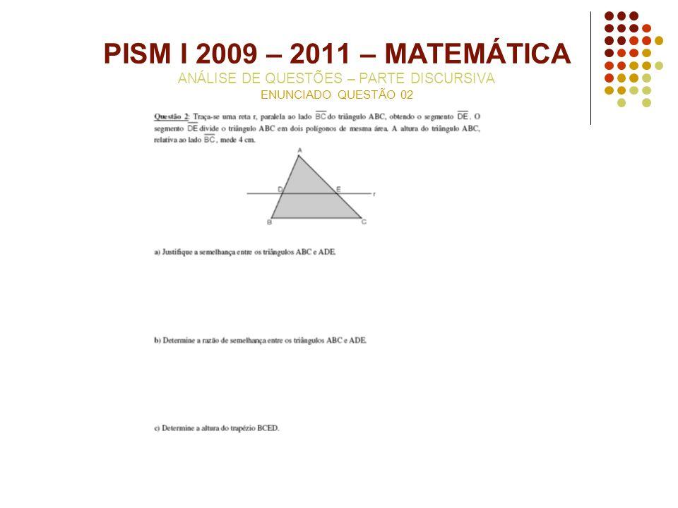 PISM I 2009 – 2011 – MATEMÁTICA ANÁLISE DE QUESTÕES – PARTE DISCURSIVA ENUNCIADO QUESTÃO 02
