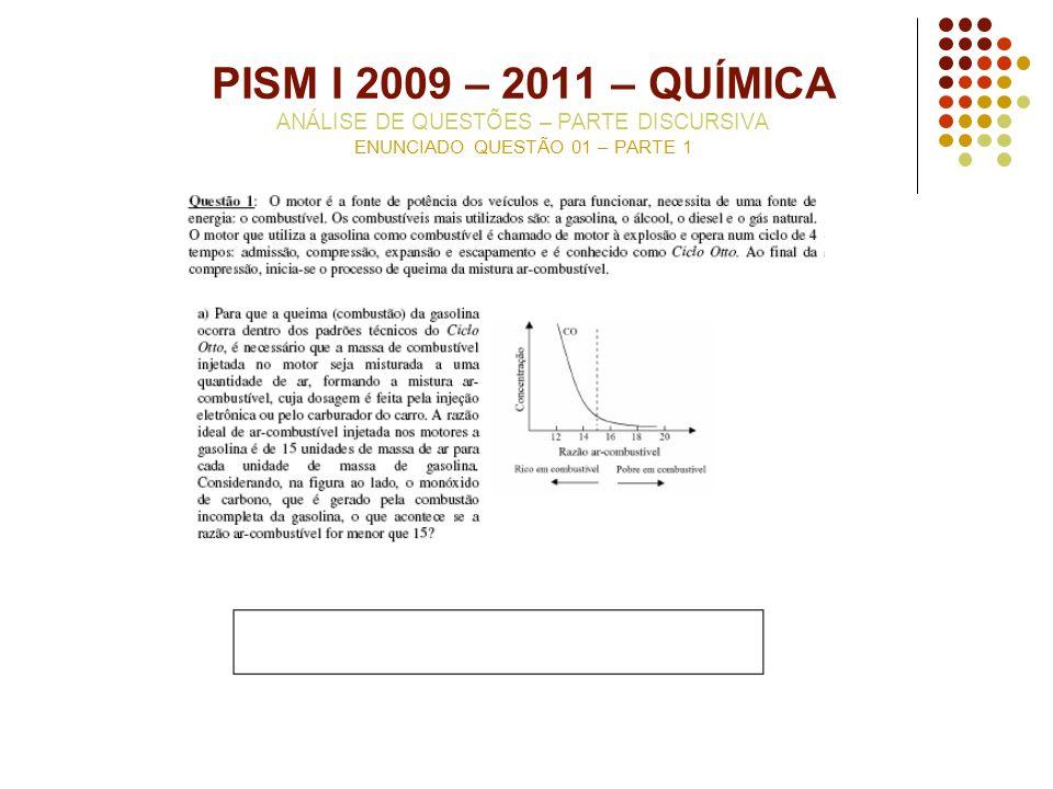 PISM I 2009 – 2011 – QUÍMICA ANÁLISE DE QUESTÕES – PARTE DISCURSIVA ENUNCIADO QUESTÃO 01 – PARTE 1