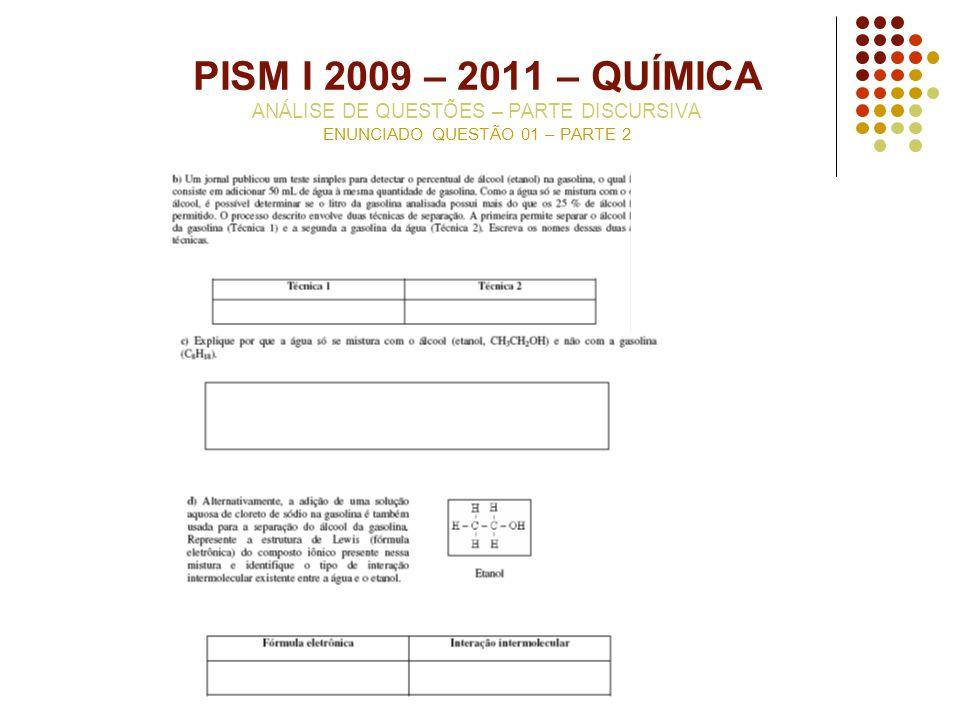 PISM I 2009 – 2011 – QUÍMICA ANÁLISE DE QUESTÕES – PARTE DISCURSIVA ENUNCIADO QUESTÃO 01 – PARTE 2