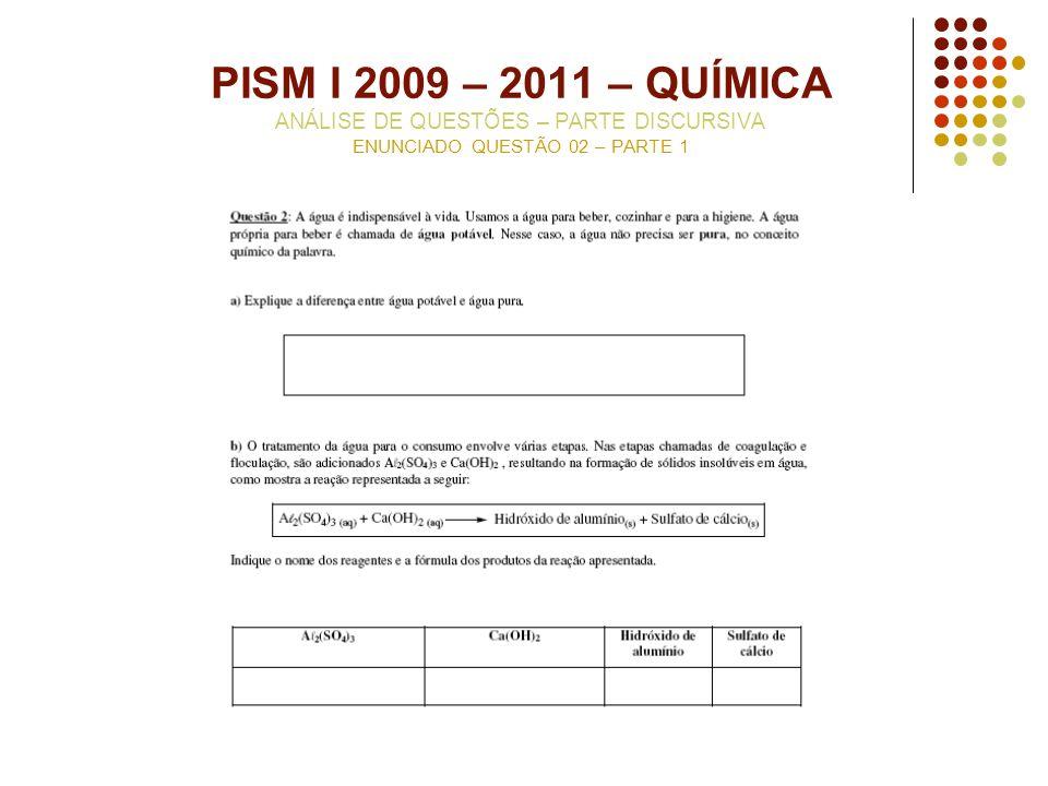 PISM I 2009 – 2011 – QUÍMICA ANÁLISE DE QUESTÕES – PARTE DISCURSIVA ENUNCIADO QUESTÃO 02 – PARTE 1