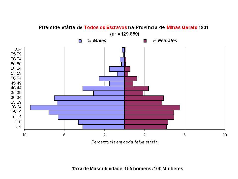 Taxa de Masculinidade 155 homens /100 Mulheres