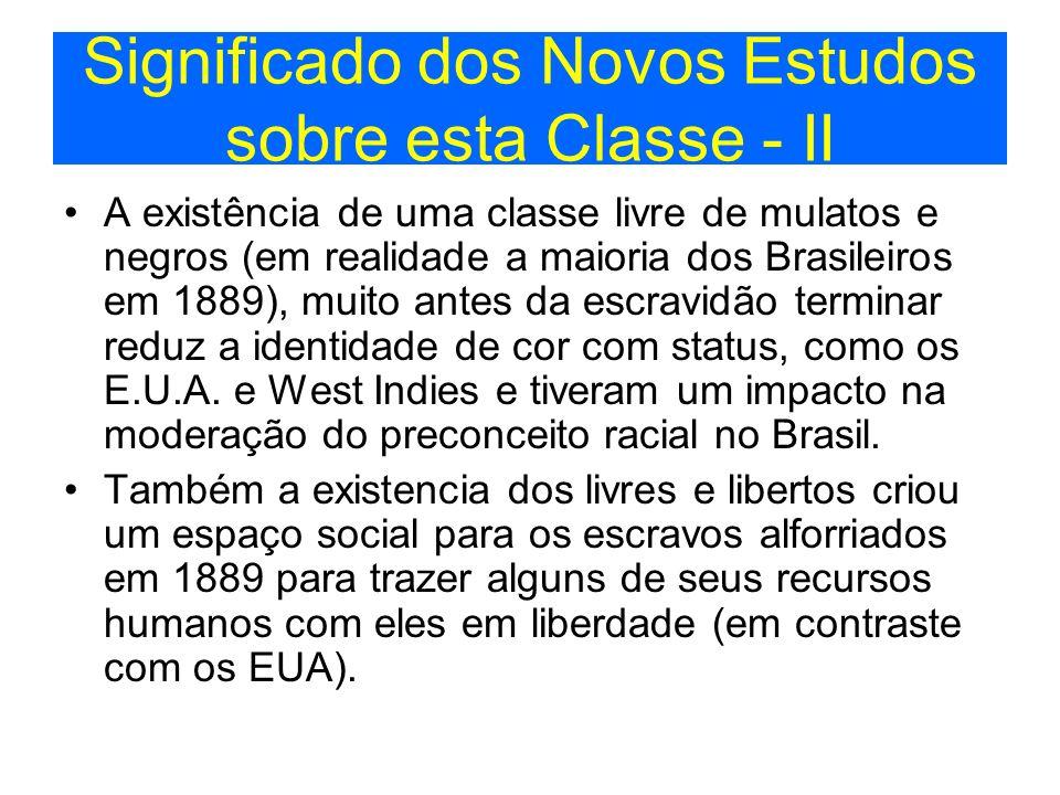 Significado dos Novos Estudos sobre esta Classe - II A existência de uma classe livre de mulatos e negros (em realidade a maioria dos Brasileiros em 1