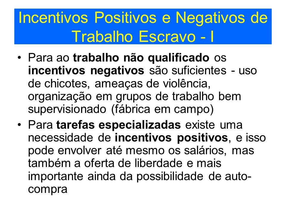 Incentivos Positivos e Negativos de Trabalho Escravo - I Para ao trabalho não qualificado os incentivos negativos são suficientes - uso de chicotes, a