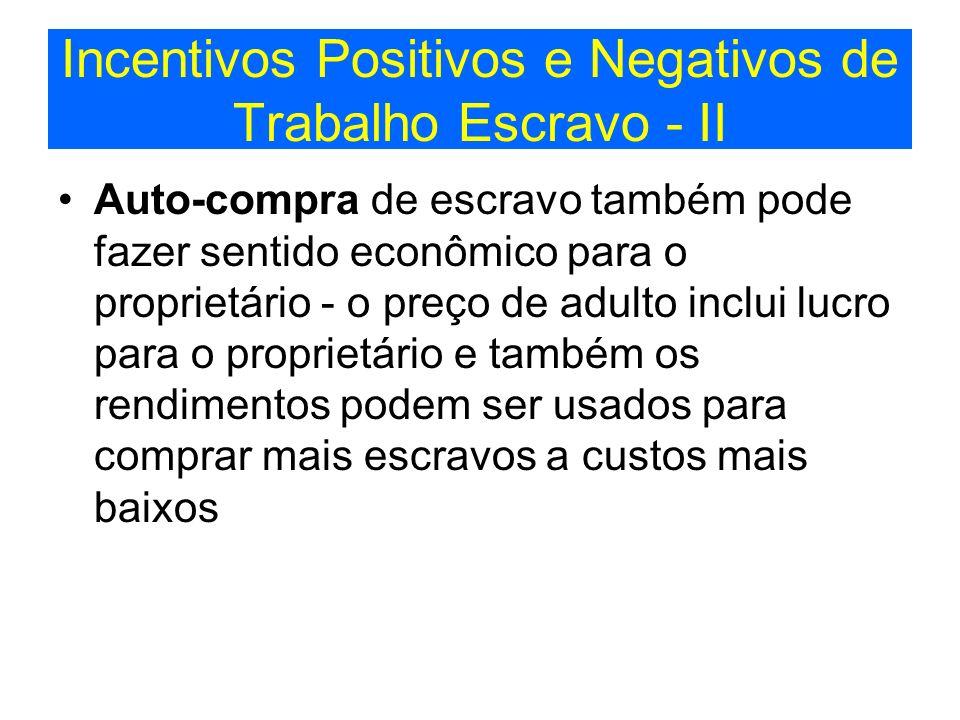 Incentivos Positivos e Negativos de Trabalho Escravo - II Auto-compra de escravo também pode fazer sentido econômico para o proprietário - o preço de