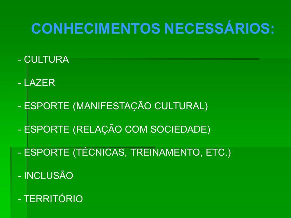 CONHECIMENTOS NECESSÁRIOS: - CULTURA - LAZER - ESPORTE (MANIFESTAÇÃO CULTURAL) - ESPORTE (RELAÇÃO COM SOCIEDADE) - ESPORTE (TÉCNICAS, TREINAMENTO, ETC