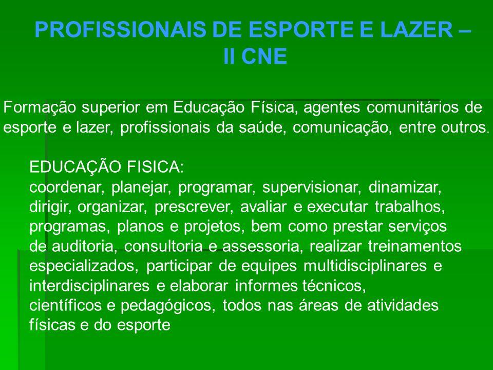 PROFISSIONAIS DE ESPORTE E LAZER – II CNE Formação superior em Educação Física, agentes comunitários de esporte e lazer, profissionais da saúde, comun