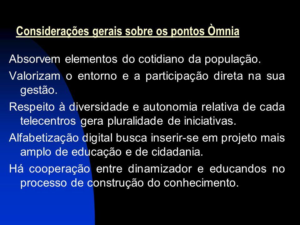 14 Considerações gerais sobre os pontos Òmnia Absorvem elementos do cotidiano da população.