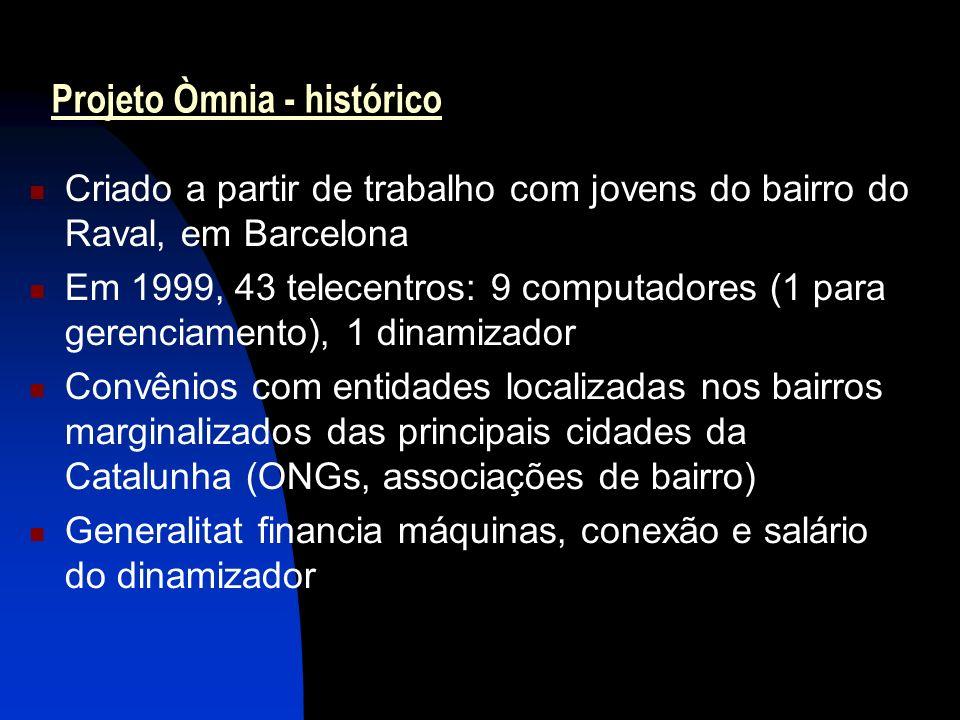 4 Projeto Òmnia - histórico Criado a partir de trabalho com jovens do bairro do Raval, em Barcelona Em 1999, 43 telecentros: 9 computadores (1 para gerenciamento), 1 dinamizador Convênios com entidades localizadas nos bairros marginalizados das principais cidades da Catalunha (ONGs, associações de bairro) Generalitat financia máquinas, conexão e salário do dinamizador