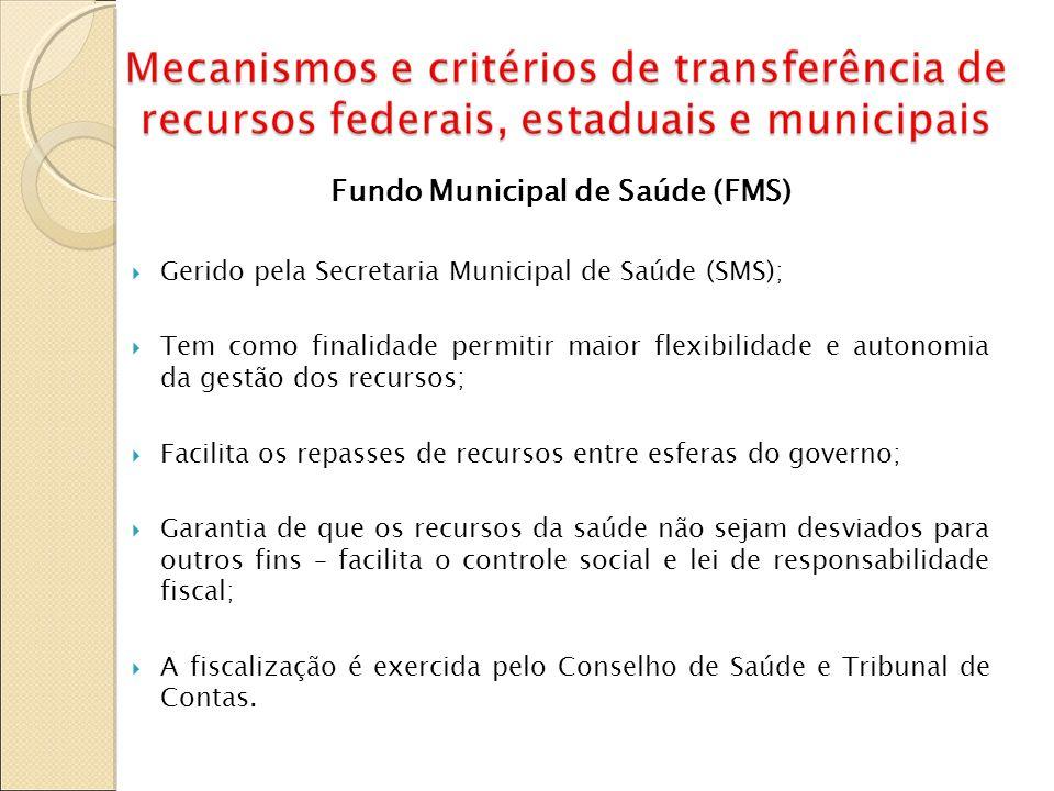 Fundo Municipal de Saúde (FMS) Gerido pela Secretaria Municipal de Saúde (SMS); Tem como finalidade permitir maior flexibilidade e autonomia da gestão