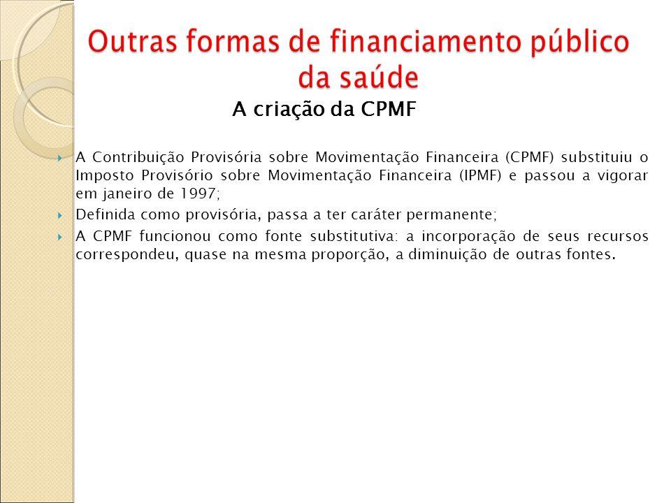 A criação da CPMF A Contribuição Provisória sobre Movimentação Financeira (CPMF) substituiu o Imposto Provisório sobre Movimentação Financeira (IPMF)