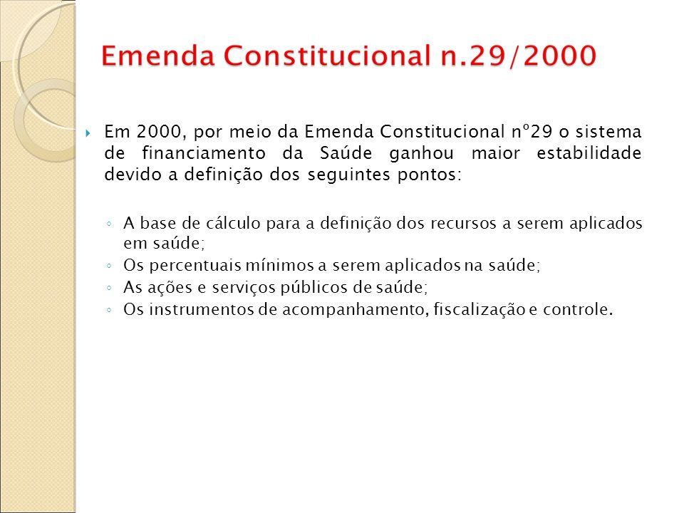 Em 2000, por meio da Emenda Constitucional nº29 o sistema de financiamento da Saúde ganhou maior estabilidade devido a definição dos seguintes pontos: