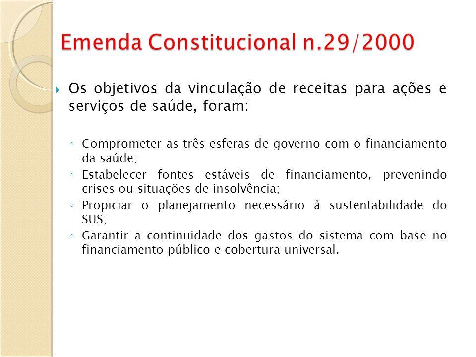 Os objetivos da vinculação de receitas para ações e serviços de saúde, foram: Comprometer as três esferas de governo com o financiamento da saúde; Est
