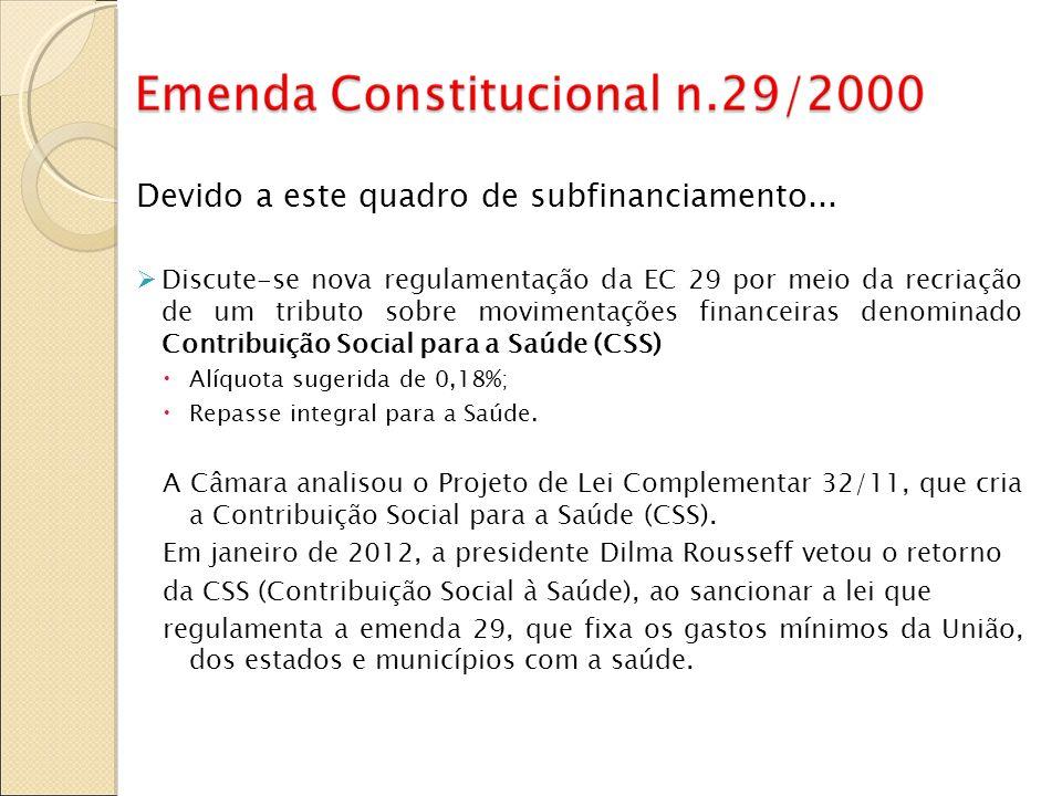 Devido a este quadro de subfinanciamento... Discute-se nova regulamentação da EC 29 por meio da recriação de um tributo sobre movimentações financeira