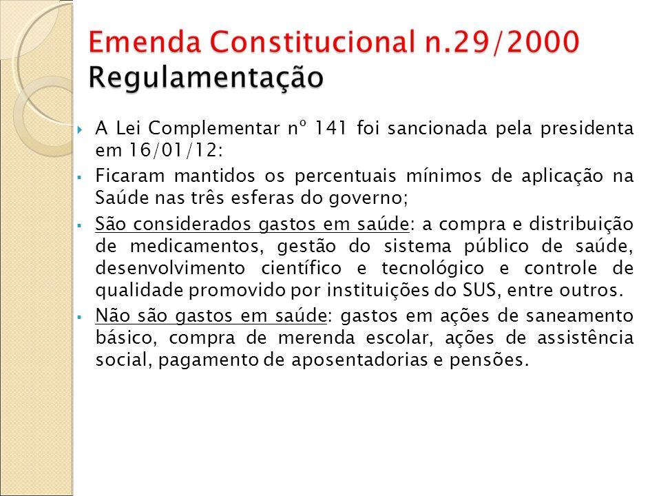 A Lei Complementar nº 141 foi sancionada pela presidenta em 16/01/12: Ficaram mantidos os percentuais mínimos de aplicação na Saúde nas três esferas d