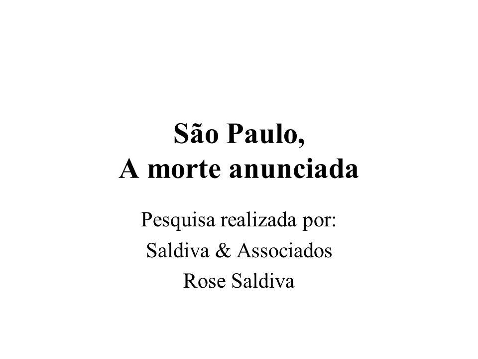 São Paulo, A morte anunciada Pesquisa realizada por: Saldiva & Associados Rose Saldiva