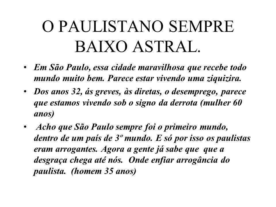 O PAULISTANO SEMPRE BAIXO ASTRAL. Em São Paulo, essa cidade maravilhosa que recebe todo mundo muito bem. Parece estar vivendo uma ziquizira. Dos anos
