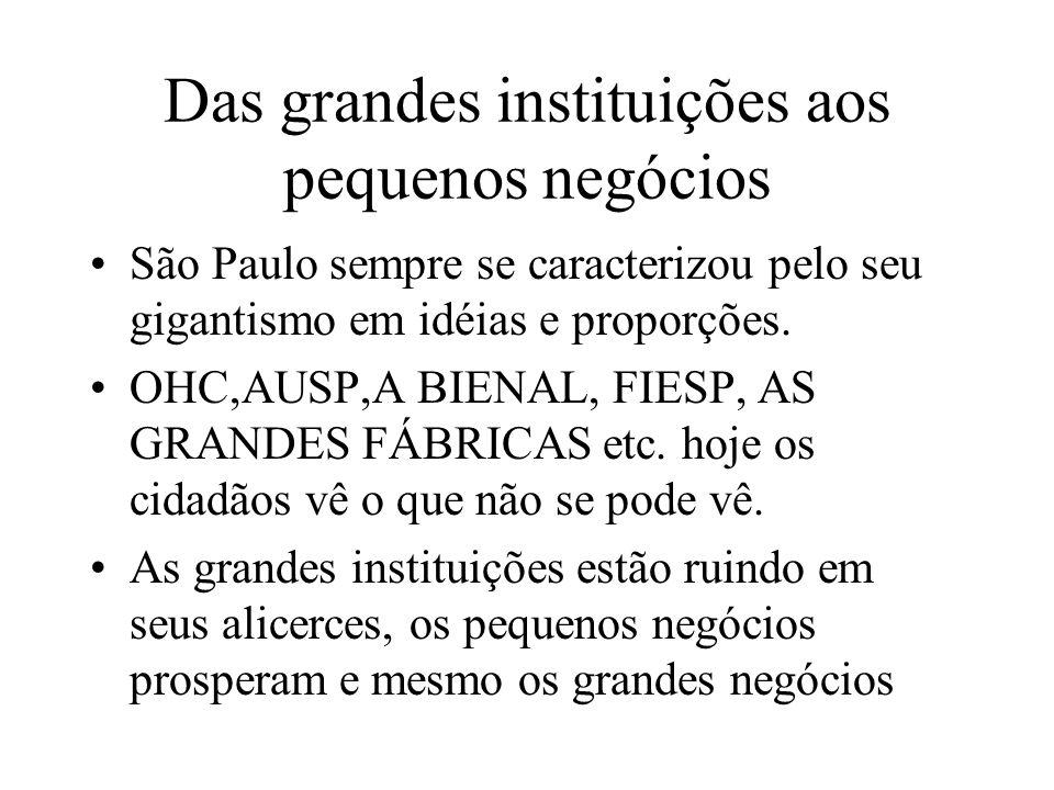 Das grandes instituições aos pequenos negócios São Paulo sempre se caracterizou pelo seu gigantismo em idéias e proporções. OHC,AUSP,A BIENAL, FIESP,