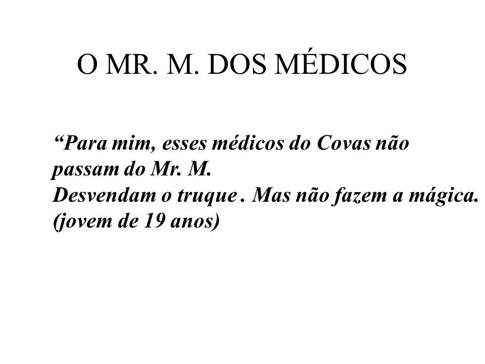 O MR. M. DOS MÉDICOS Para mim, esses médicos do Covas não passam do Mr. M. Desvendam o truque. Mas não fazem a mágica. (jovem de 19 anos)