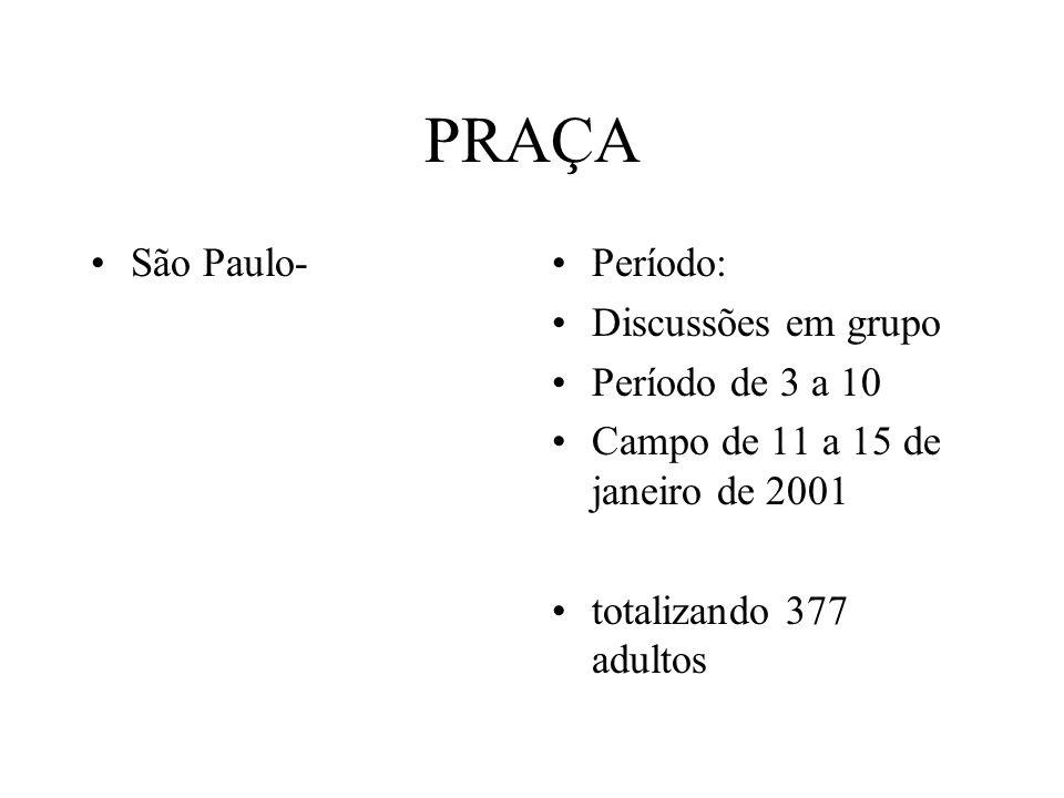 PRAÇA São Paulo-Período: Discussões em grupo Período de 3 a 10 Campo de 11 a 15 de janeiro de 2001 totalizando 377 adultos