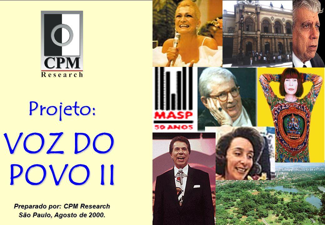 CPM Projeto: VOZ DO POVO II Preparado por: CPM Research São Paulo, Agosto de 2000.