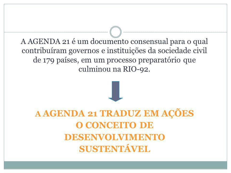 AGENDA 21 GLOBAL 40 Capítulos agrupados em 4 seções Dimensões Econômicas e Sociais (2-8) Conservação e Gestão dos Recursos para o Desenvolvimento (9-22) Fortalecimento do Papel dos Principais Grupos Sociais (23- 32) Estabelecimento dos Meios para a Implementação (33-40)