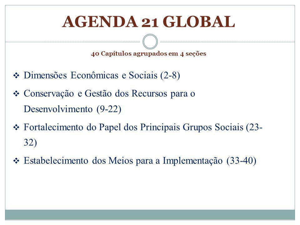 40 Capítulos agrupados em 4 seções 1 - Preâmbulo 2 - Cooperação internacional para acelerar o desenvolvimento sustentável 3 - Combater a pobreza 4 - Mudar os padrões de consumo 5 - Dinâmica demográfica e sustentabilidade 6 - Proteger e promover a saúde humana 7 - Promover assentamentos humanos sustentáveis 8 - Integrar o meio ambiente e o desenvolvimento nas tomadas de decisão 9 - Proteger a atmosfera 10 - Integrar o planejamento e o gerenciamento dos recursos do solo 11- Combater o desflorestamento 12 - Combater a seca e a desertificação 13 - Desenvolvimento sustentável das montanhas 14 - Desenvolvimento rural e a agricultura sustentáveis 15 - Conservar a diversidade biológica 16 - Gestão responsável da biotecnologia 17 - Proteção dos oceanos, mares, e áreas costeiras 18 - Proteger a qualidade e suprimento dos recursos de água limpa 19 - Gerenciar de forma ambientalmente responsável os produtos químicos tóxicos 20 - Gerenciar de forma ambientalmente sustentável os resíduos perigosos