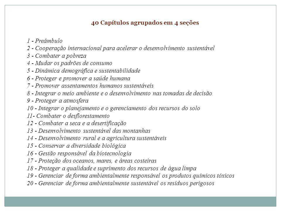 40 Capítulos agrupados em 4 seções 1 - Preâmbulo 2 - Cooperação internacional para acelerar o desenvolvimento sustentável 3 - Combater a pobreza 4 - M