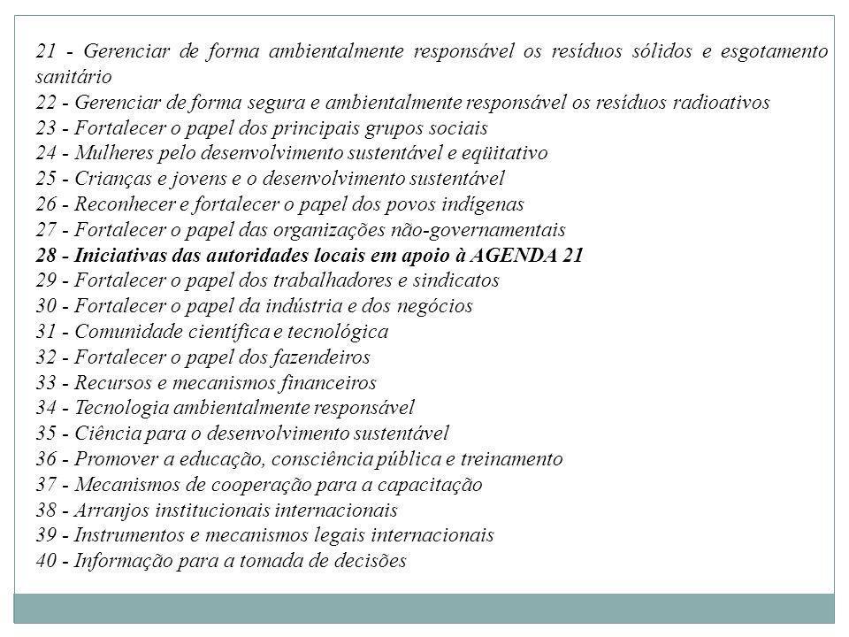 Temas Básicos da Agenda 21 COOPERAÇÃO entre países, entre diferentes níveis de governo e entre vários segmentos e atores sociais EMPODERAMENTO e fortalecimento dos grupos socialmente vulneráveis ou em desvantagem relativa EDUCAÇÃO e desenvolvimento individual PLANEJAMENTO estratégico integrado CAPACITAÇÃO - condição para implementação dos planos INFORMAÇÃO e disponibilização de bases de dados e informações para a tomada de decisões DEMOCRACIA E PARTICIPAÇÃO