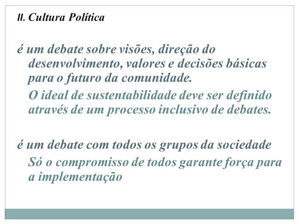 II. Cultura Política é um debate sobre visões, direção do desenvolvimento, valores e decisões básicas para o futuro da comunidade. O ideal de sustenta