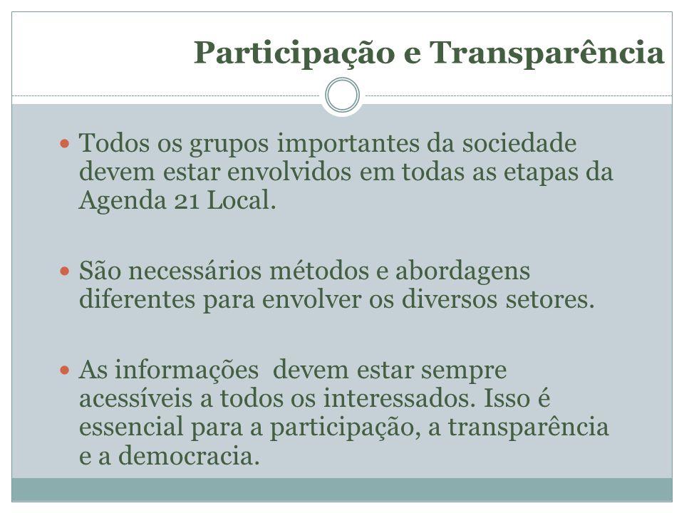Participação e Transparência Todos os grupos importantes da sociedade devem estar envolvidos em todas as etapas da Agenda 21 Local. São necessários mé