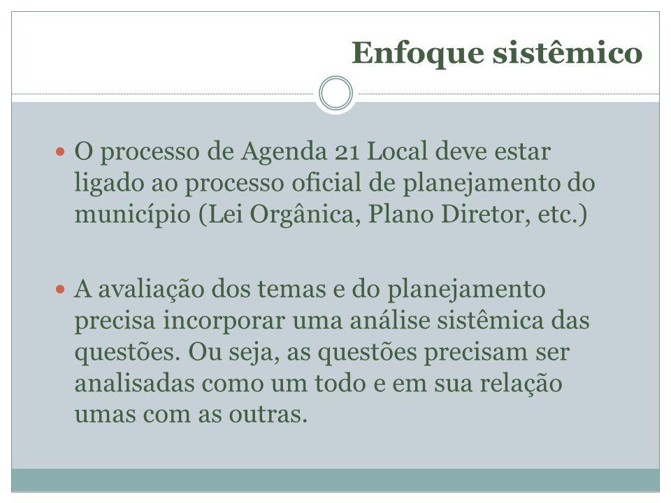 Enfoque sistêmico O processo de Agenda 21 Local deve estar ligado ao processo oficial de planejamento do município (Lei Orgânica, Plano Diretor, etc.)