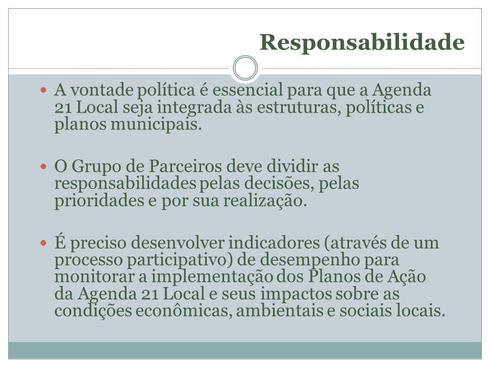 Responsabilidade A vontade política é essencial para que a Agenda 21 Local seja integrada às estruturas, políticas e planos municipais. O Grupo de Par